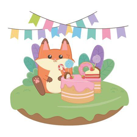 Kawaii fox with happy birthday cake design
