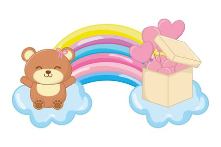 toy bear and rainbow vector illustration