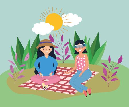 young people picnic in the park Illustration