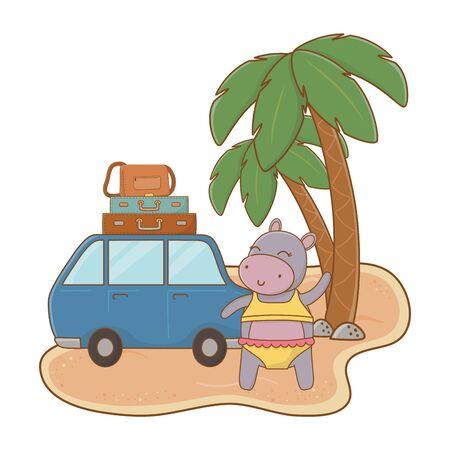 cute animal enjoying summer time cartoon Banque d'images - 137829713