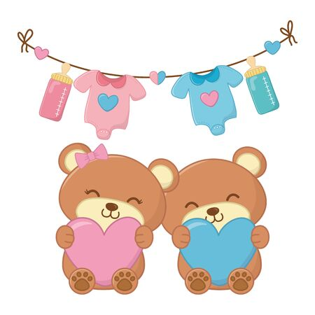 toy bears holding hearts vector illustration