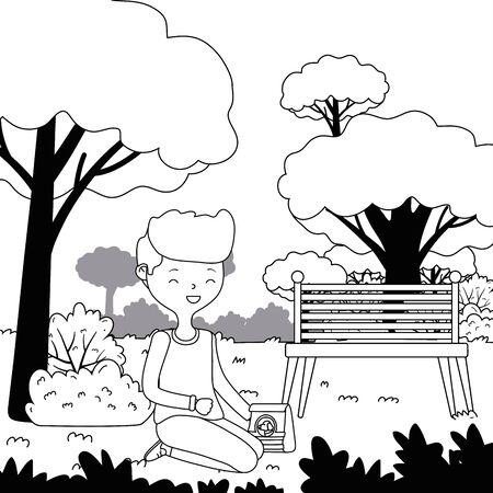 Teenager boy cartoon with dog food design