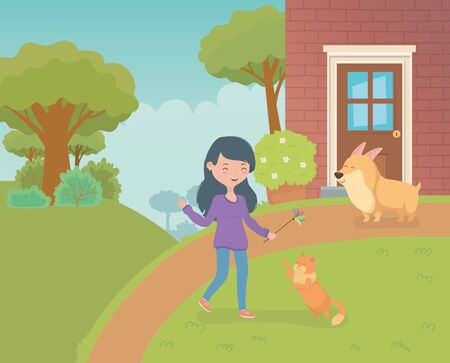 woman with cute little cat and dog in the house garden 向量圖像