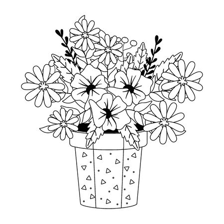 Flowers and leaves inside pot vector design