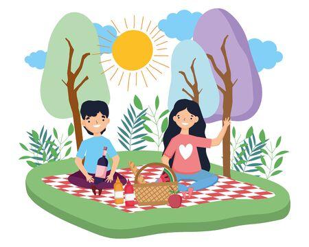 Couple of woman and man having picnic design Ilustração