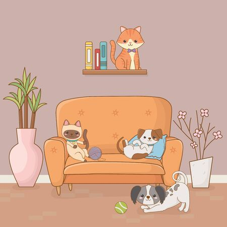 little dog and cat mascots in the house room 向量圖像