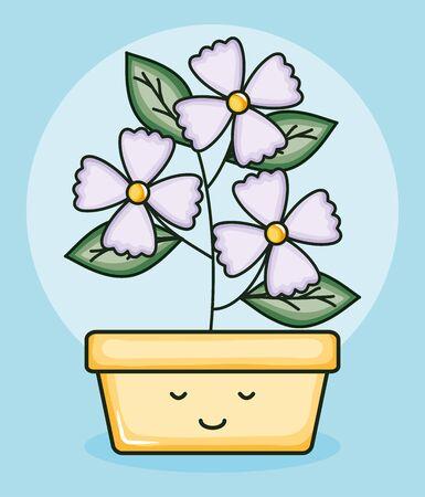 garden plant in square pot kawaii character Illusztráció