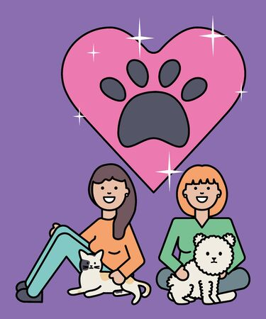 young women with cute cat and dog mascots