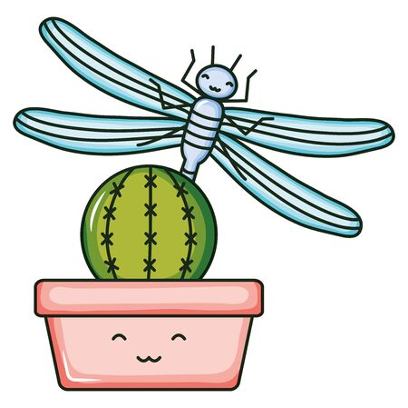 cactu in ceramic pot and dragon fly kawaii style