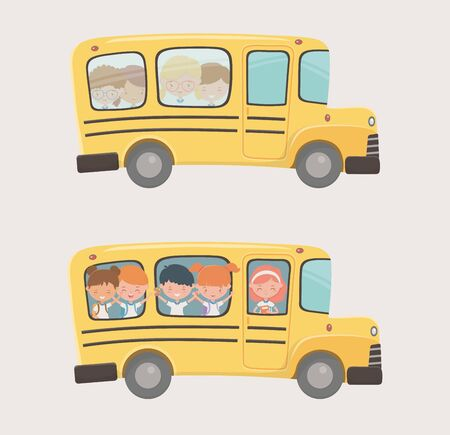 Transporte en autobús escolar con grupo de niños.