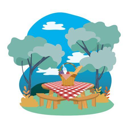 Picnic basket in forest design Ilustração