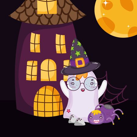 ghost with glasses and hat halloween Ilustrace