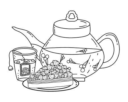 Isolated tea pot glass and cake design Illusztráció