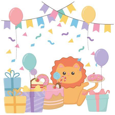 Kawaii lion with happy birthday cake design