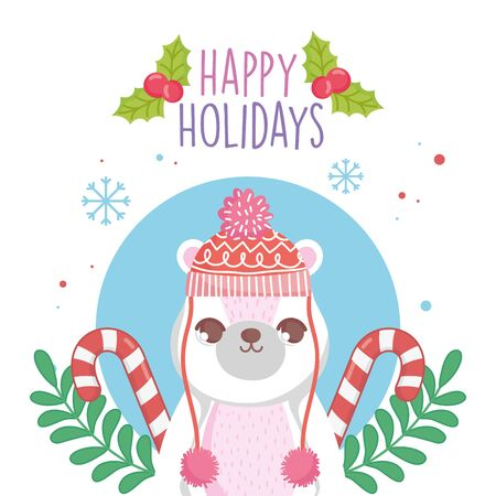 cute polar bear with hat and sweater candy canes merry christmas Archivio Fotografico - 137830237