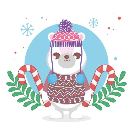 cute polar bear with hat and sweater merry christmas Archivio Fotografico - 137830061
