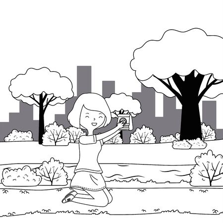 Teenager girl cartoon with dog food design