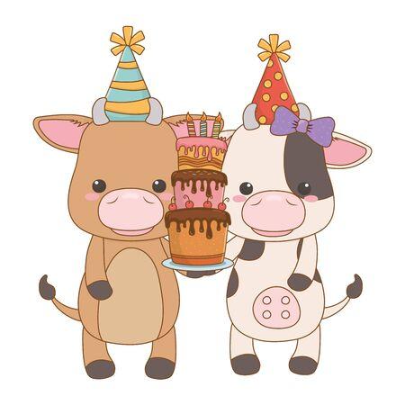 Animals cartoons with happy birthday cake design Reklamní fotografie - 137829657
