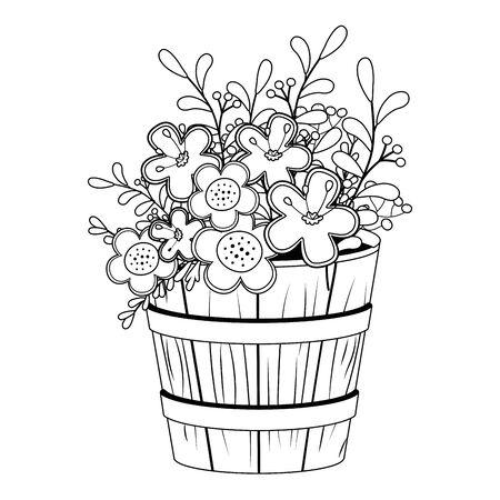 Flowers and leaves inside barrel pot vector design Illusztráció