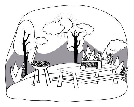 Isolated picnic in park design Ilustração