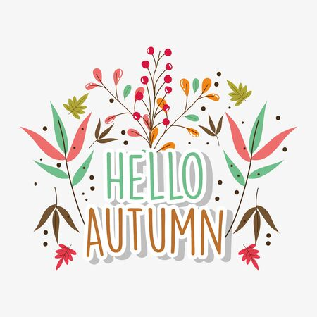 hello autumn season flat design Ilustrace