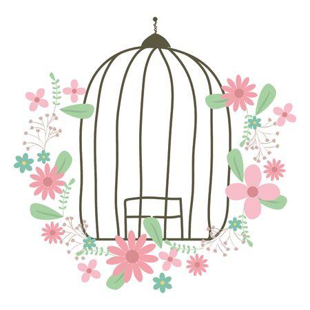 cage bird jail with floral decoration Ilustração