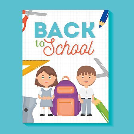 cute little students with supplies Ilustração