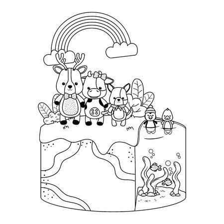 Reindeer cow and dog cartoon design