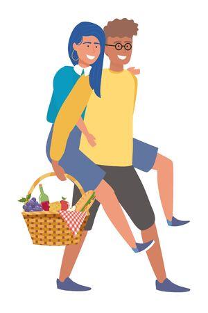 Couple of woman and man having picnic design Illustration