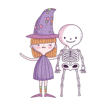 happy halloween celebration girl with hat witch and skeleton