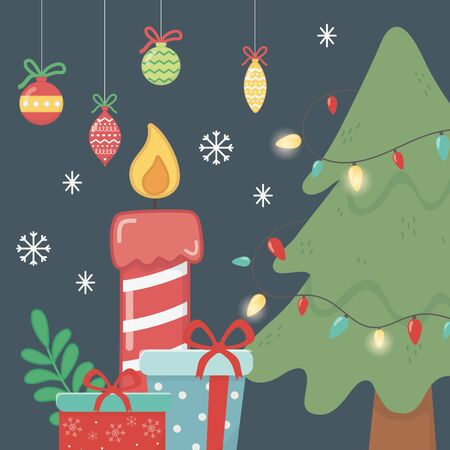 tree lights garland balls candle and gifts celebration merry christmas poster