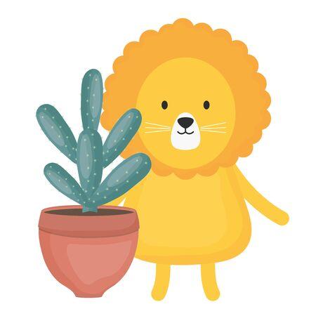 cute lion with exotic cactus in ceramic pot
