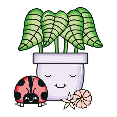 house plant in ceramic pot with ladybug kawaii style