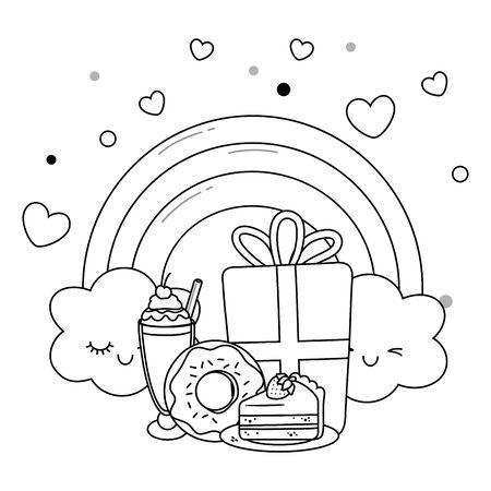 Kawaii rainbow and happy birthday design Ilustração