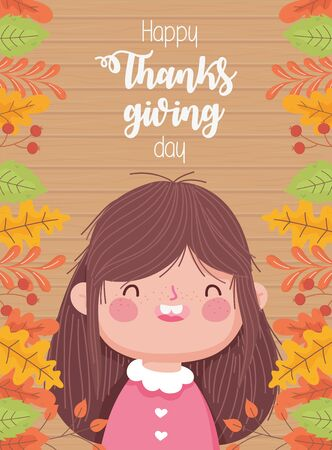 happy thanksgiving day smiling little girl autumnal foliage berries
