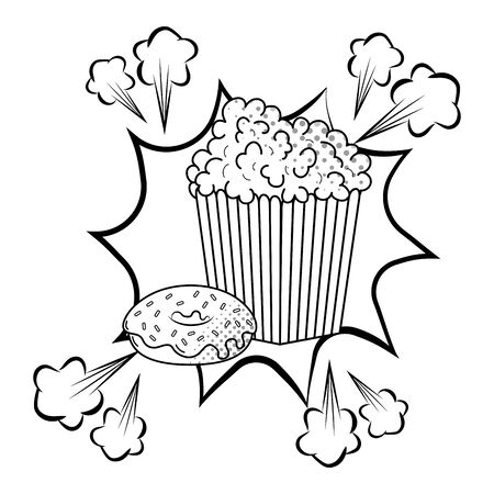 pop corn and donut icon cartoon pop art background black and white vector illustration graphic design