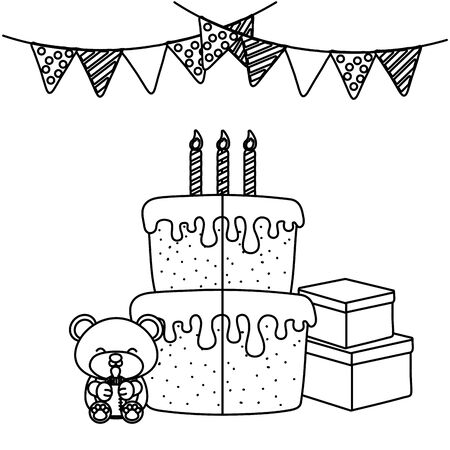 baby party elements birthday cake, candles, gift boxes, toy bear holding a feeding bottle and pendants black and white vector illustration graphic design