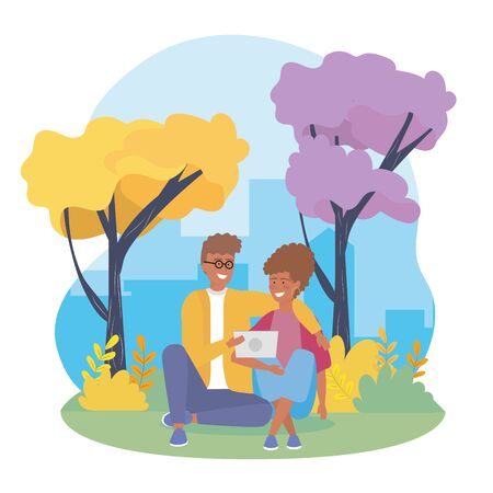 girl and boy couple with casual clothes to youth day vector illustration