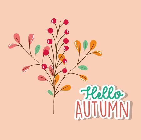 foliage leaves hello autumn season lettering vector illustration Ilustrace