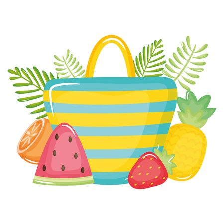 handbag female with summer fruits vector illustration design  イラスト・ベクター素材