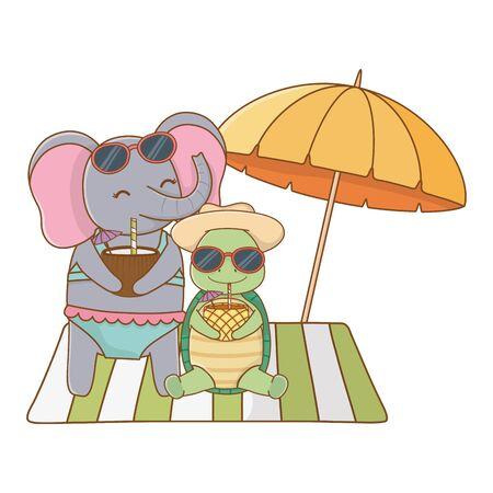 cute animals enjoying summer vacations