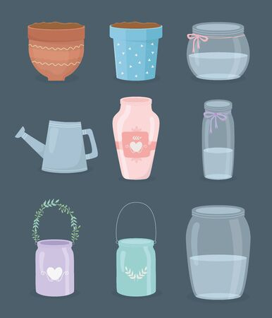 set of gardening containers icons Stock fotó - 137867886