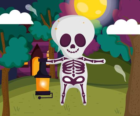 boy skeleton costume with lamp halloween image vector illustration