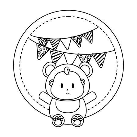 round frame with bear costume and pendants vector illustration graphic design Archivio Fotografico - 137862240