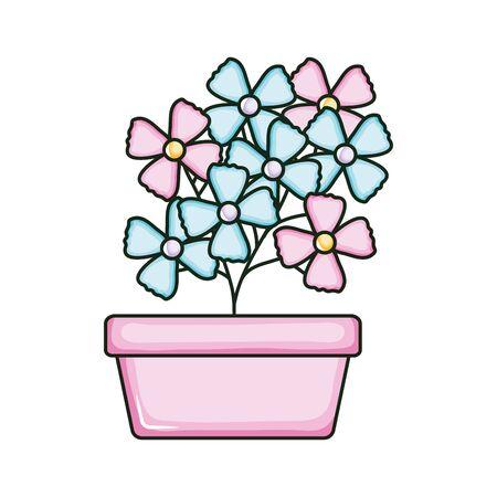 beautiful flowers garden in square ceramic pot vector illustration design