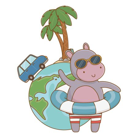 cute animal hippopotamus enjoying vacations and summer time, travel and relax cartoon vector illustration graphic design Banque d'images - 137863149