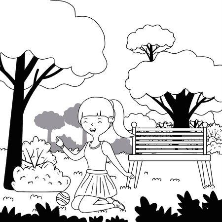 Teenager girl cartoon with tennis ball design Stock Illustratie