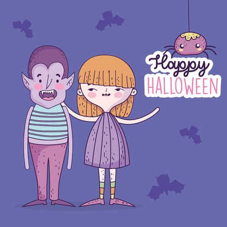 happy halloween celebration girl and boy with costumes and bats spiders vector illustration