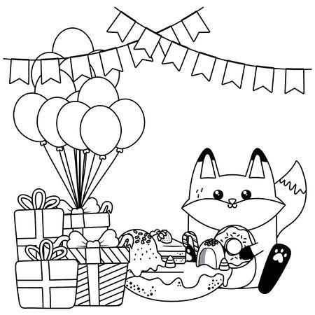 Fox cartoon design, happy birthday celebration decoration party festive and surprise theme Vector illustration