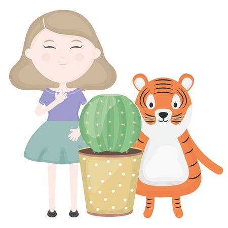 cute tiger and girl with exotic cactus in ceramic pot